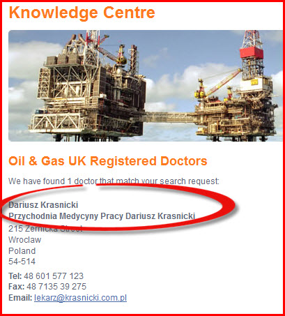 Oil & Gas UK registered  doctors in