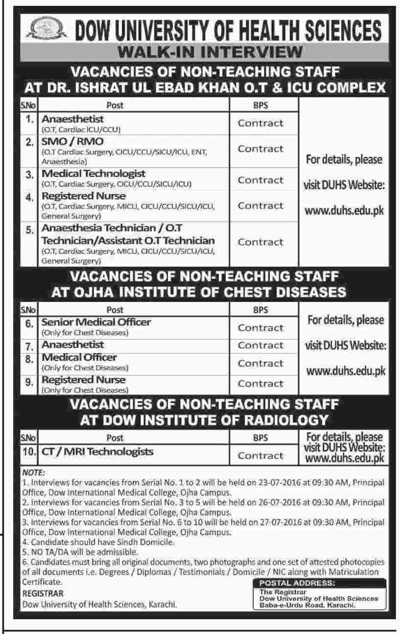 Dow University of Health Sciences Jobs Walk in Interviews