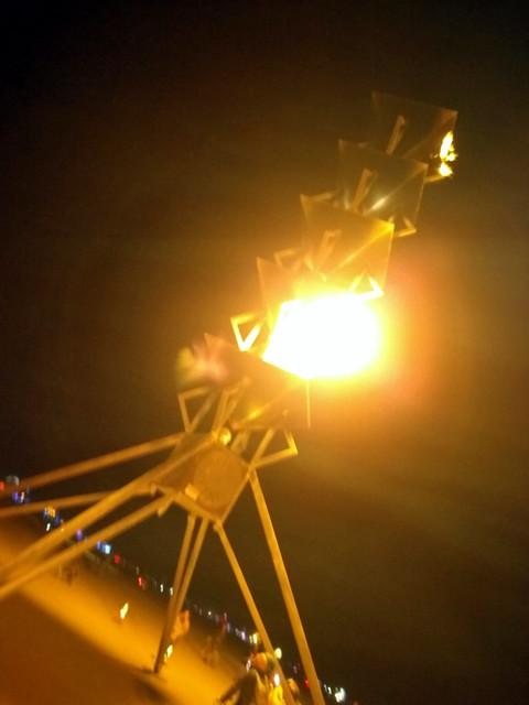 Flame tower, Black Rock City, Burning Man 2016, Black Rock Desert, Nevada, USA