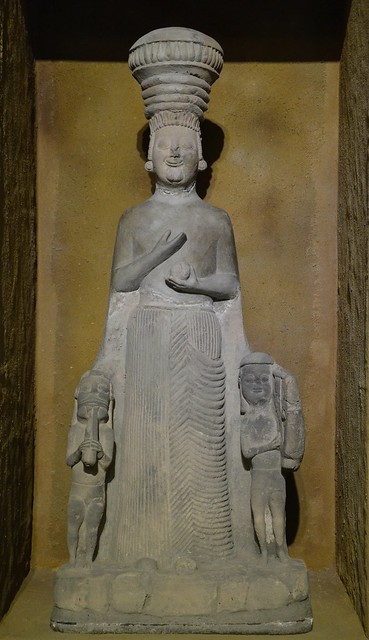 Limestone statue of Cybele, the Phrygian Mother Earth goddess, flanked by two male figures, discovered in Boğazköy, 6th century BC, Museum of Anatolian Civilizations, Ankara