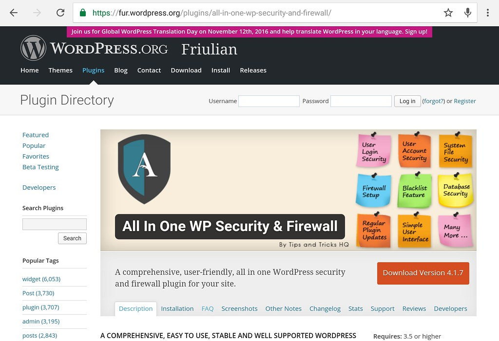 WP all in one security plugin