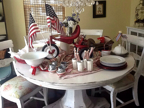 Red white and Blue Tablescape, red white and blue centerpiece, Memorial Day Table decor, 4th of July table decor, red tricycle, Red white and Blue