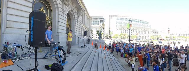 human powered presentation at San Francisco City Hall