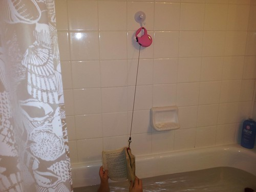 Keeping books dry in the bathtub