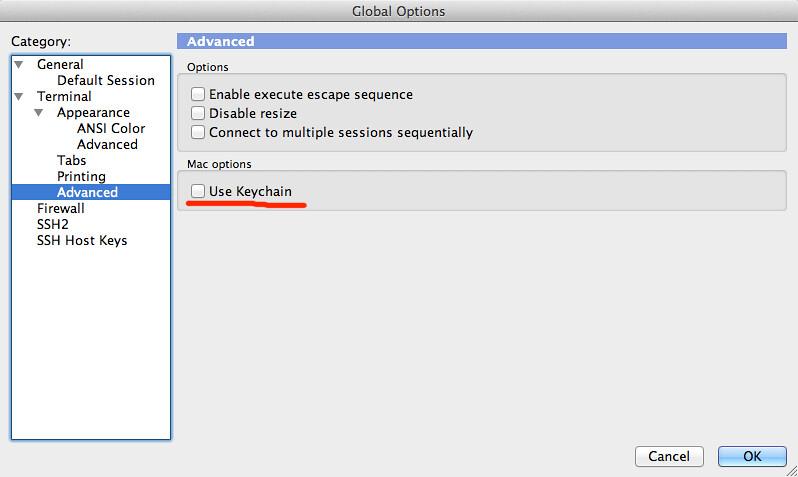 解决secureCRT在mac下无法保存密码问题