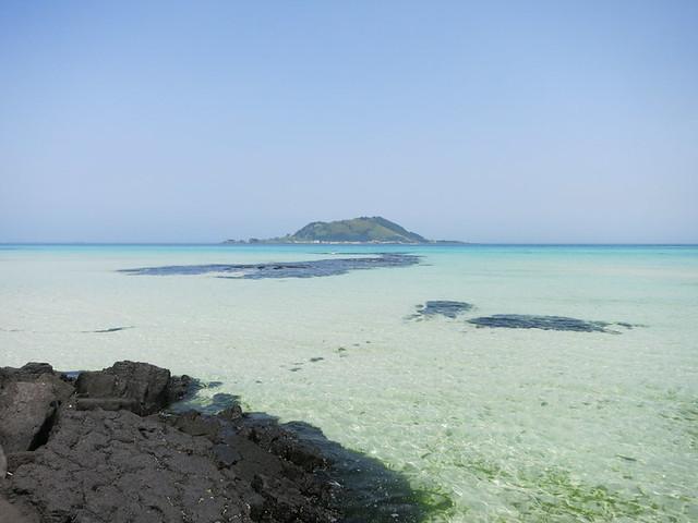 Jeju Island with Biyangdo in the distance.
