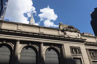 Image of Grand Central Terminal near New York County. architecture bluesky building cc chryslerbuilding cloud grandcentralterminal manhattan midtown nyc sunny wwward0 newyork unitedstates us