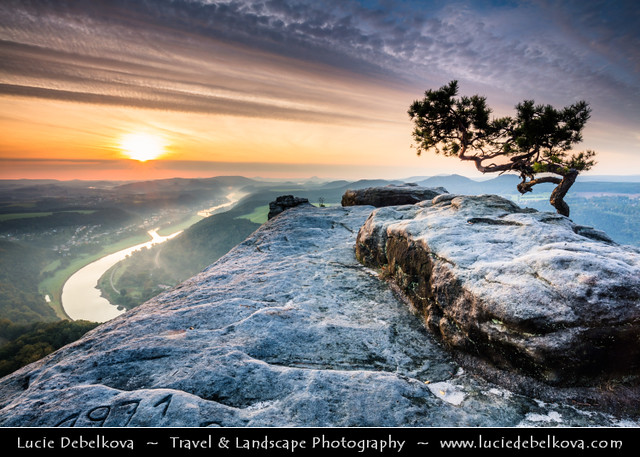 Germany - Saxony - Saxon Switzerland National Park - View from Lilienstein at beautiful morning light