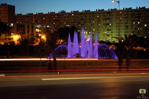 alger algiers algérie algeria afrique du nord baie nuit night lights lumières highway autoroute coucher de soleil sunset fontaine طريق السريع الجزائر العاصمة الليل غروب الشمس فوارة mohammadia المحمدية