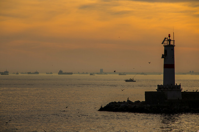 Waiting Ships at Sunset - Istanbul, Turkey