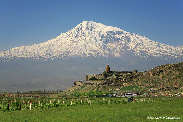 Ararat mountain and Khor Virap monastery. Armenia. from Flickr via Wylio