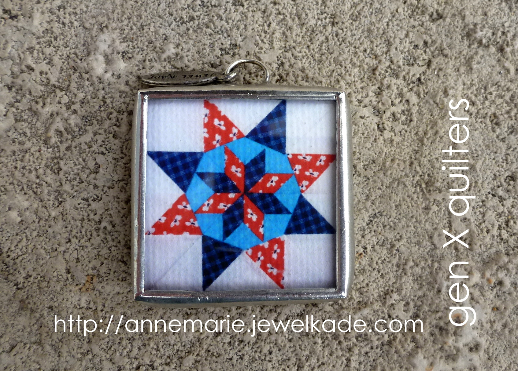 quilt block jewel kade charm back