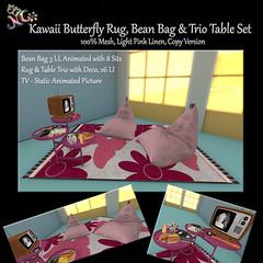 Kawaii Butterfly Rug Bean Bag and Trio Table Set - Pink