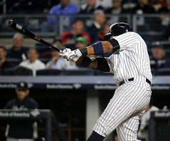 Yankees second baseman Starlin Castro hits an RBI double in the first inning.