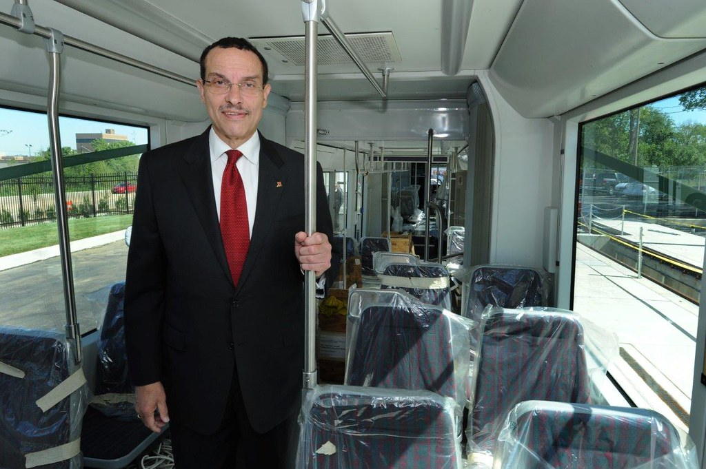 Mayor Vincent C. Gray on board the streetcar