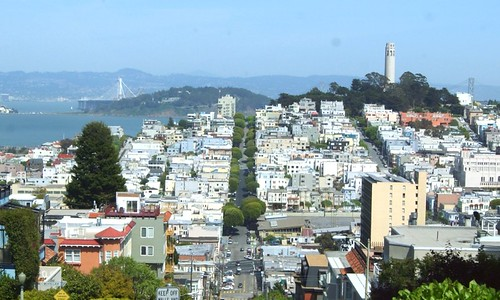 View of Coit Tower from Lombard St.