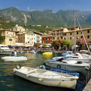 The little harbor of Malcesine between Monte Baldo and lake Garda