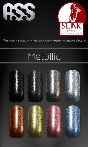 A:S:S - SLINK avatar enhancement system nails - Metallic