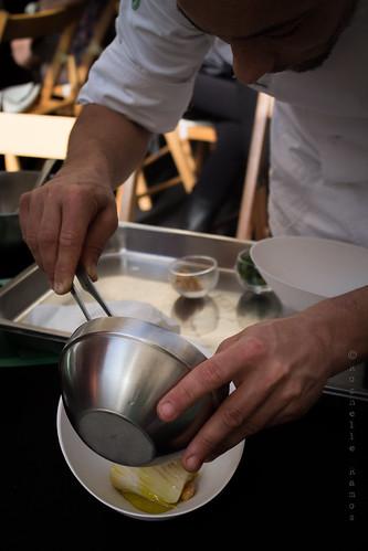 Tasca de Esquina - Lombos confitados, amêndoas e espuma de batata - Prep