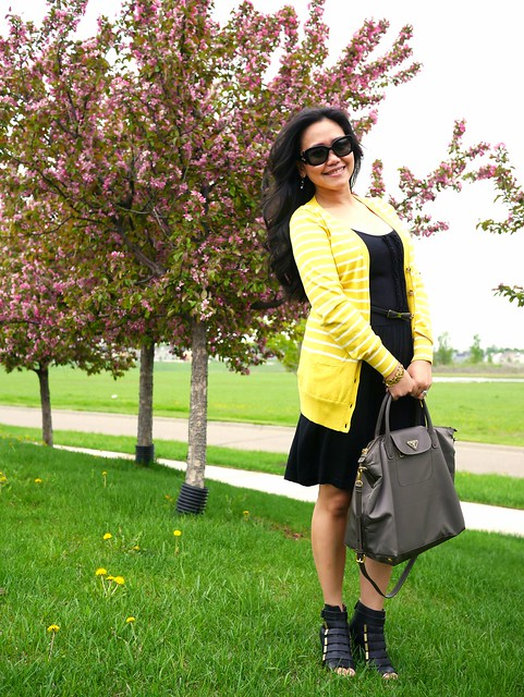 banana republic yellow long sweater - qi cashmere dress - givenchy shoes - prada nylon bag2