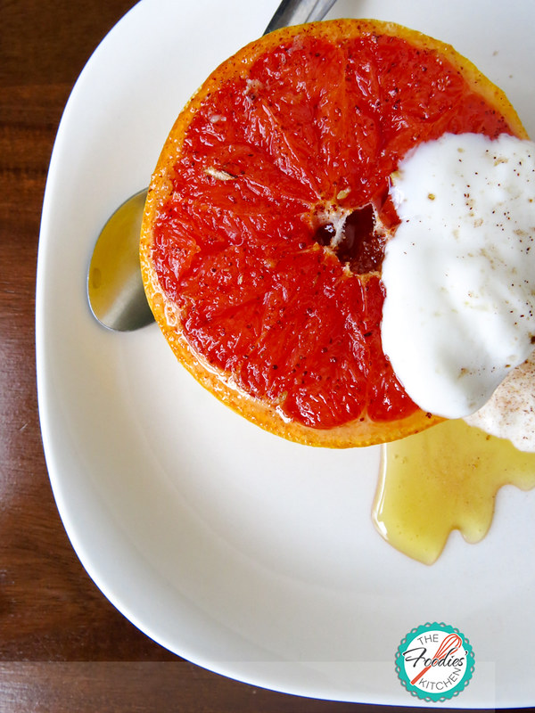 Roasted Red Grapefruit with Honey and Yogurt