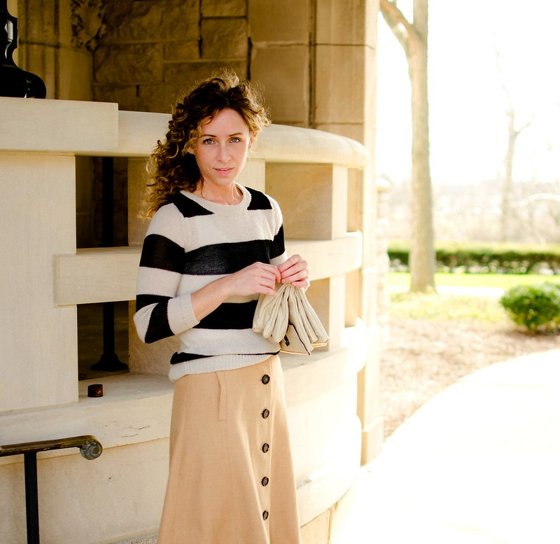 cute midi skirt outfit via Kristina J blog