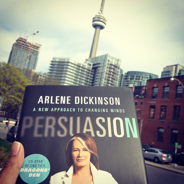 She gave me her book. Can't put it down. Very good read. #Persuasion by @arlenedickinson #cbcdragonsden