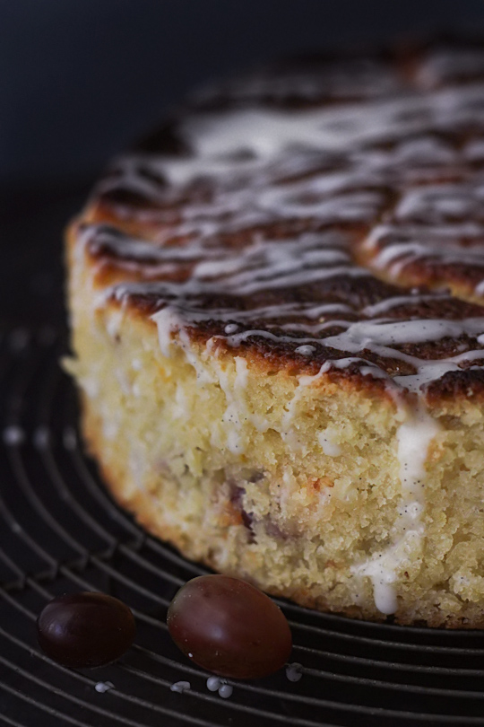 Grape Tea Cake with Vanilla Bean Glaze