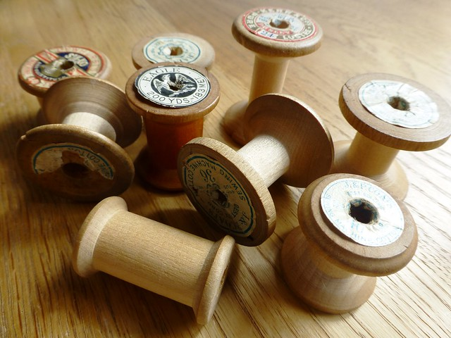 Old wooden spools