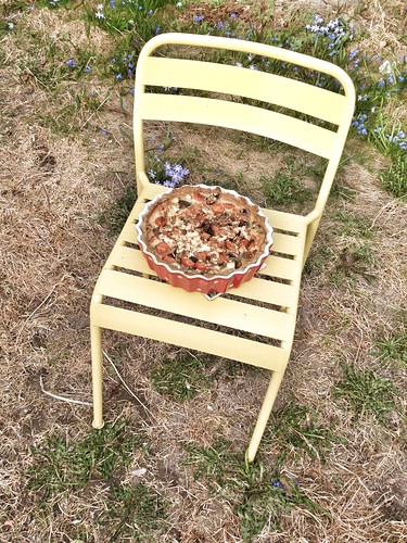 vegetarian pie on a garden chair