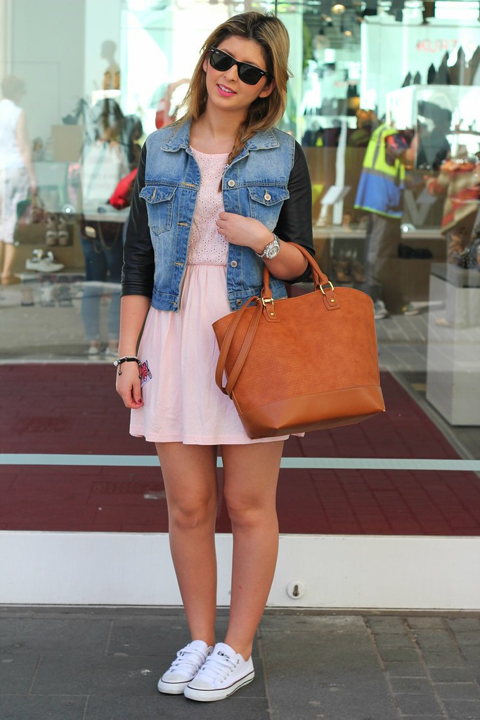 Denim Leather Sleeve Jacket, pink mini dress, brown shopper basket bag, Aviator Ray Ban & white converse
