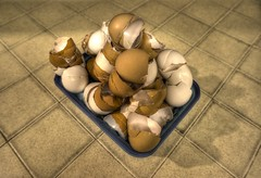 Egg shells in kitchen