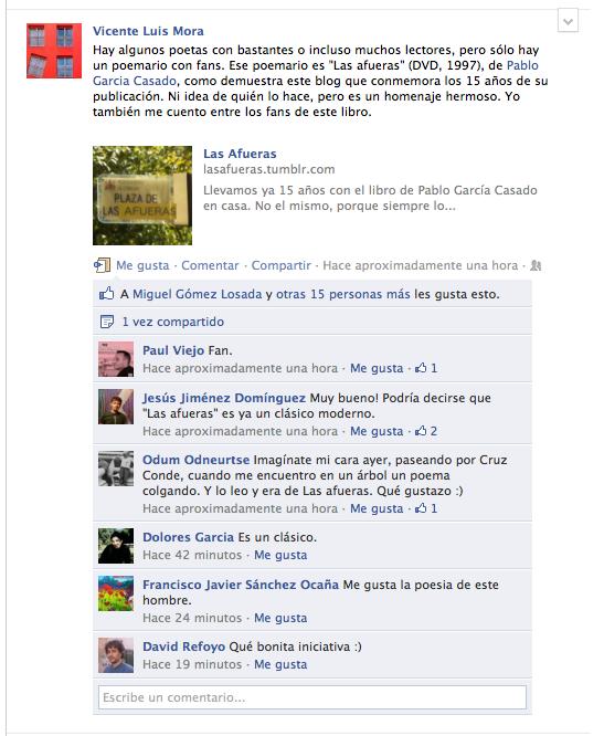 Las Afueras, reacción en facebook