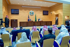 U.S Secretary of State John Kerry addresses reporters during a joint news conference with Saudi Arabia Foreign Minister Adel al-Jubeir following a series of meetings focused on Yemen and other regional hotspots on August 25, 2016, in the Royal Terminal 1 at King Abdulaziz International Airport in Jeddah, Saudi Arabia. [State Department Photo/ Public Domain]