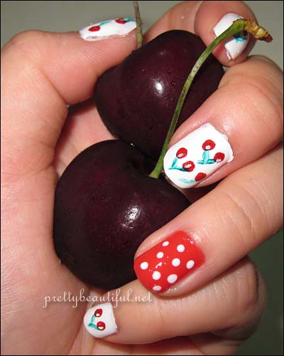 Cherry Nail Art with Cherries