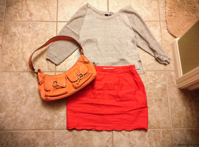 silver and orange outfit