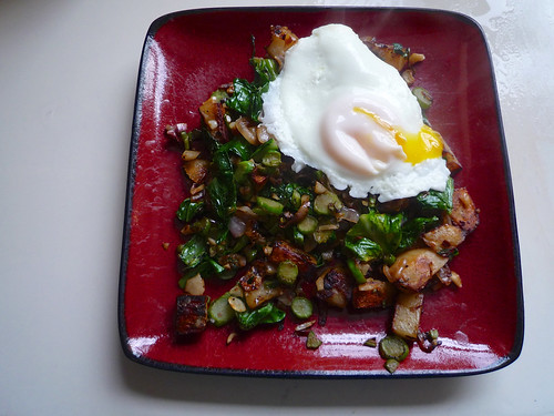 Spicy Potato, Pak Choy, and Shallot Hash
