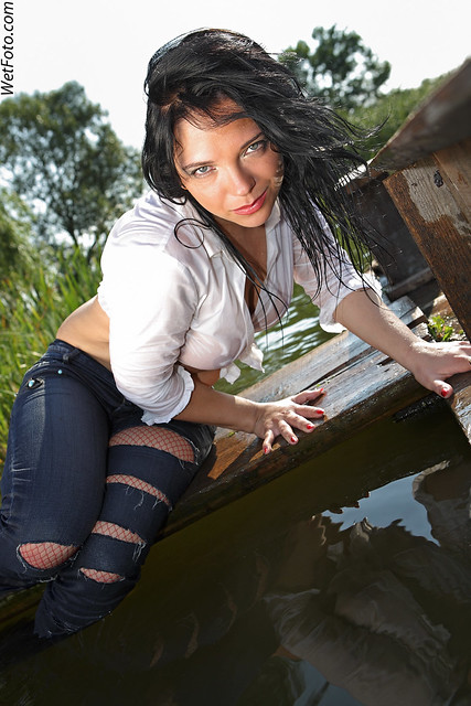 #215.2 Blue Tight Jeans Wetlook with Hot Girl. Beautiful ...