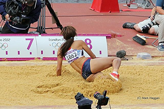 Katarina Johnson-Thompson of Team GB in the long jump during the heptathlon at the London 2012 Olympics