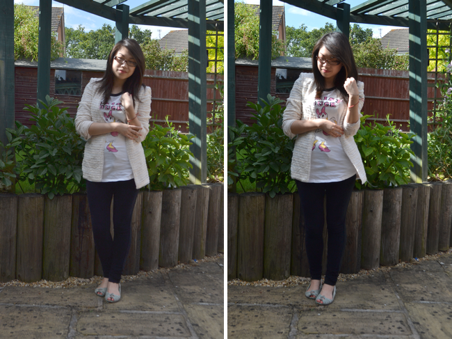 daisybutter - UK Style and Fashion Blog: what i wore, ootd, wiwt, lookbook, SS12, boucle jacket, zara, uniqlo