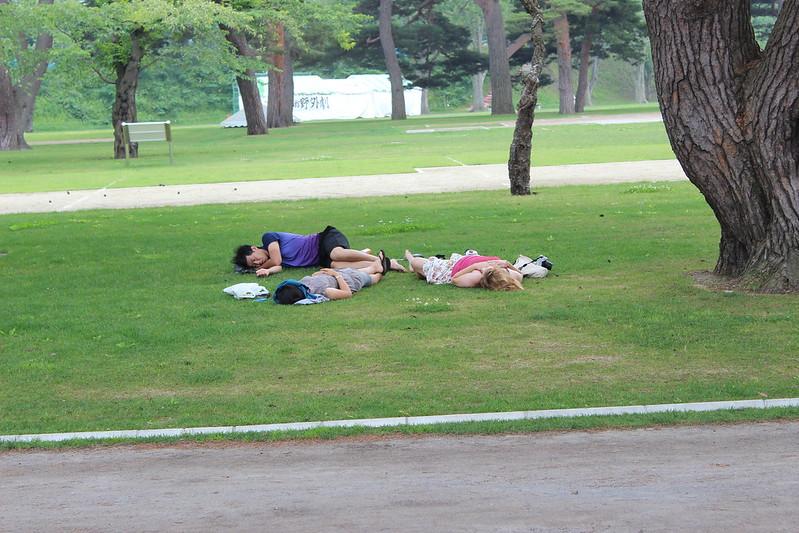 五稜郭跡でお昼寝している人