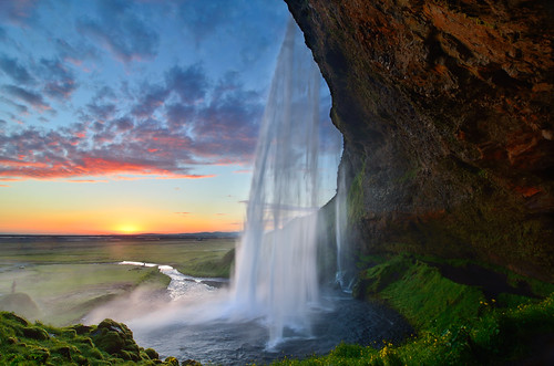 travel sunset sky color clouds landscape waterfall iceland islandia seljalandsfoss niikon davidshield