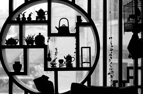silhouettes of tea time