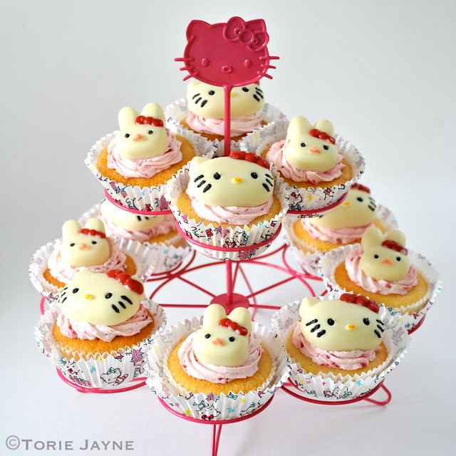 Hello Kitty filled cupcake stand