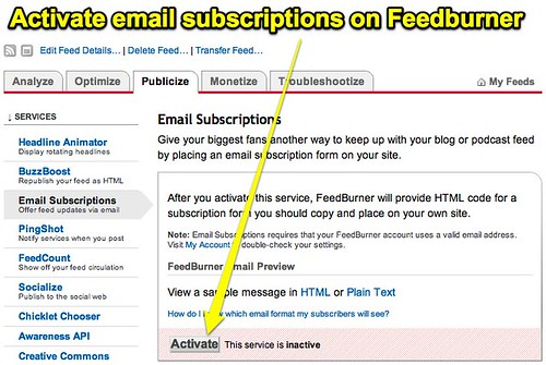 Activate email subscriptions on Feedburner