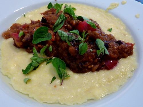fresh corn polenta and eggplant sauce