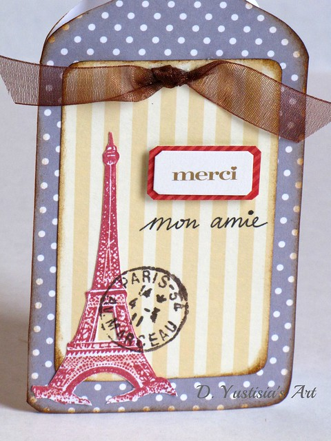 Paris theme antique bottle card
