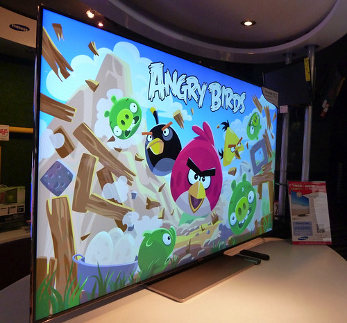 "Angry Birds on the 75"" samsung television"