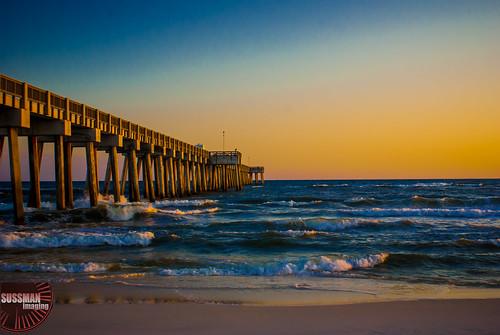 ocean sunset reflection beach gulfofmexico water pier waves florida panamacitybeach panamacity pierpark thesussman sonyalphadslra200 sussmanimaging