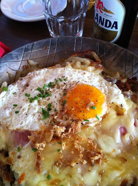 A quality mountain food [bergsteiger essen] - a rösti at the Mountain Hotel Wildstrubel, Gemmipass, Valais, Switzerland